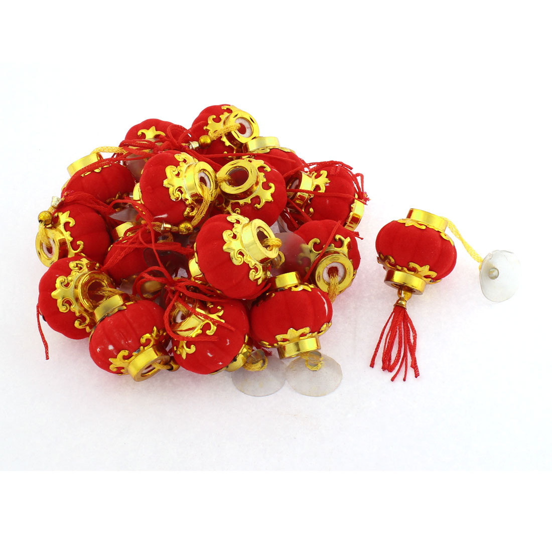 Lantern Design Hanging Ring Bell Ornament Keyring Decor Red Gold Tone 18pcs