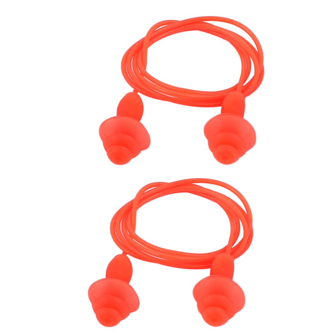 Soft Silicone Swimming String Earplug Earplugs Protector Orange 2pcs