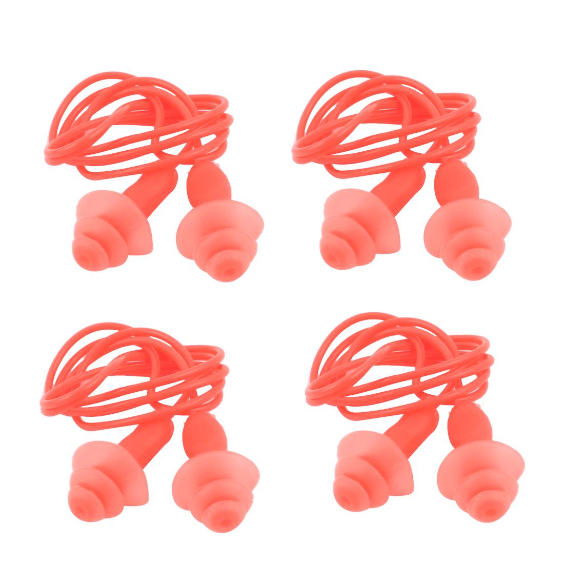 Swimming Orange Soft Silicone Wired Ear Plug Earplugs 4pcs