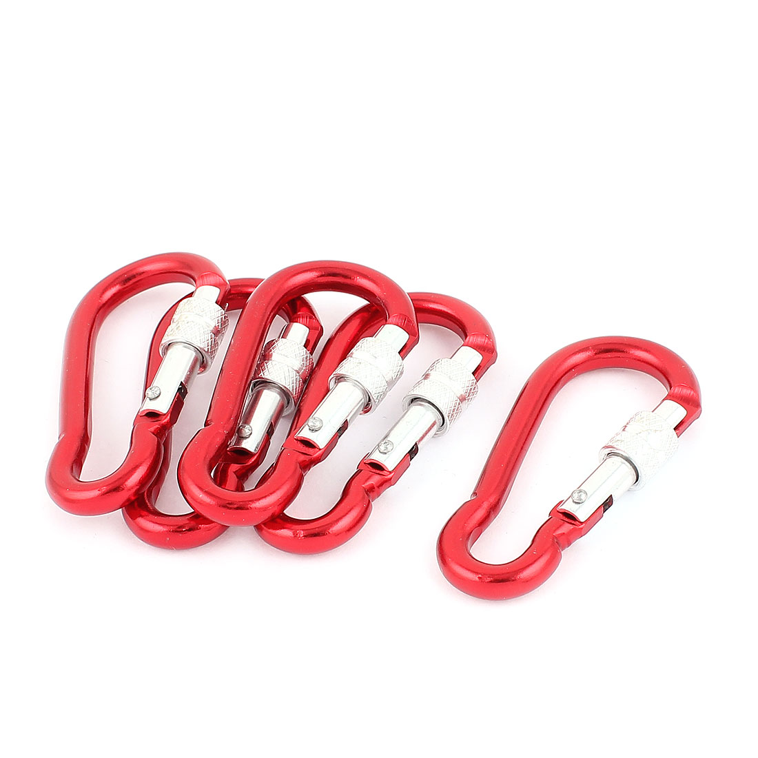 Outdoor Hiking Snap Lock Carabiner Hook Clip Keyring Red 5pcs