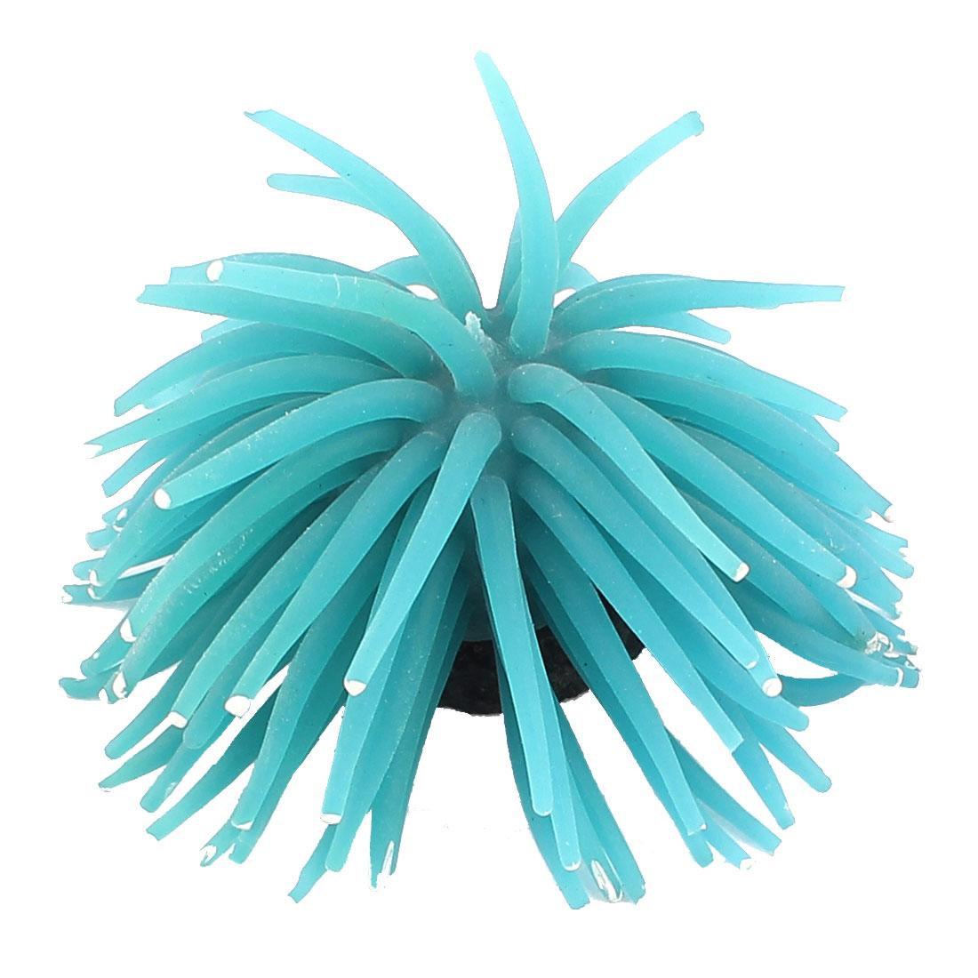 Aquarium Soft Silicone Artificial Sea Coral Anemone Landscaping Decor Blue