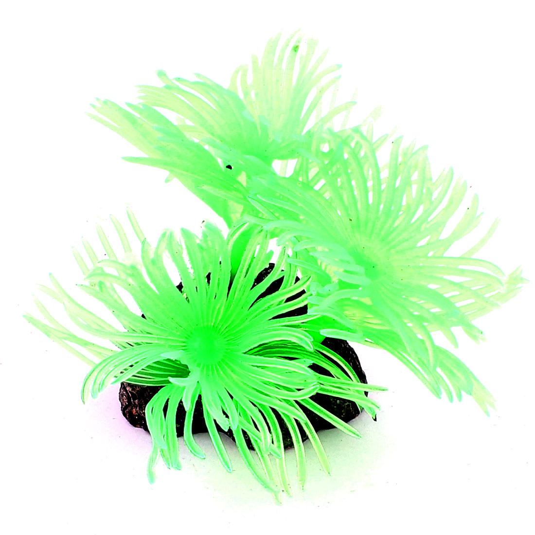 Aquarium Underwater Soft Silicone Artificial Coral Plant Decor Green