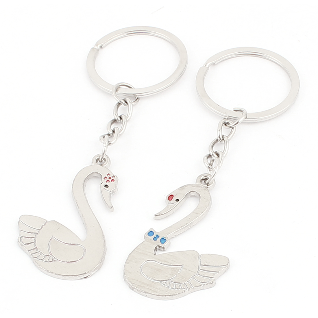 Metal Pendant Silver Tone Couple Key Rings Keychain Keyring Lover Gift Pair