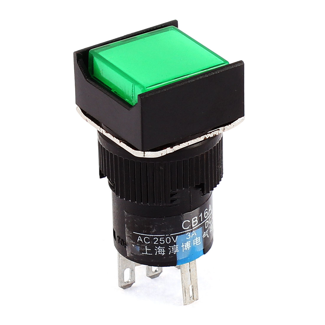 AC 220V Green Pilot Light 16mm Thread Panel Mounted SPDT 1NO 1NC Momentary Square Push Button Switch