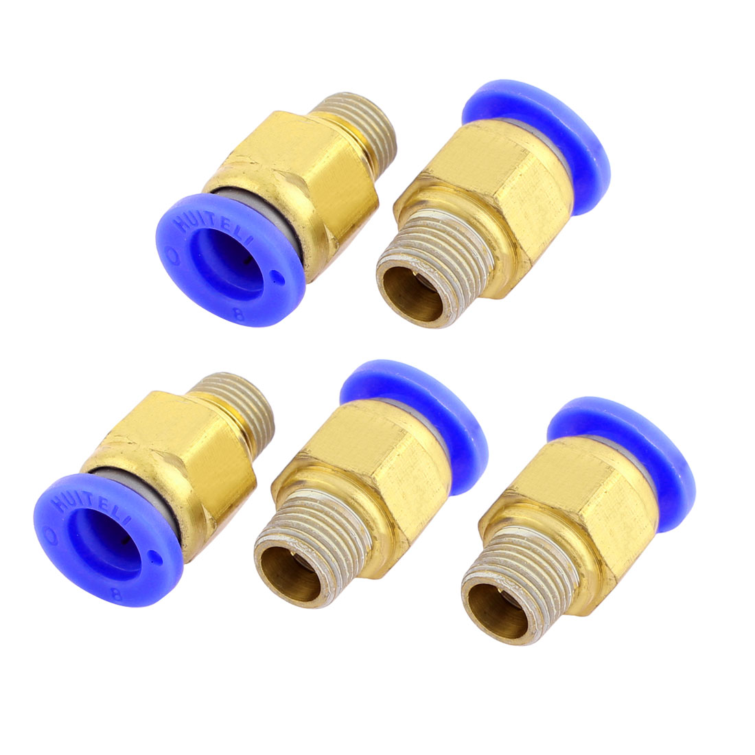 5pcs 10mm 1/8BSP Male Thread 8mm OD Push in Pipe Straight Air Pneumatic Quick Coupler Fitting Connector