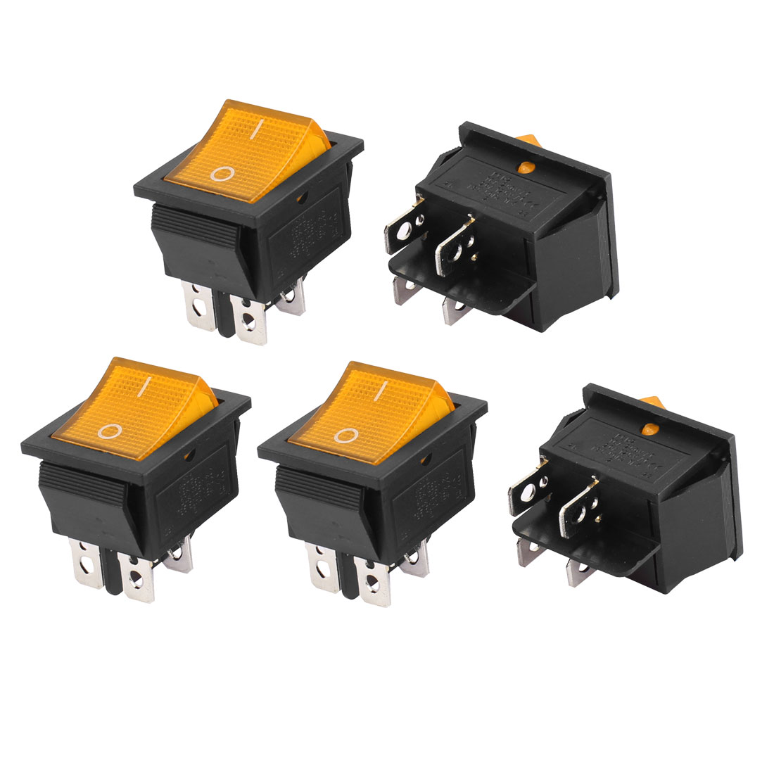 5pcs AC 110-220V Yellow Light 2 Position Snap In DPST Latching Car Boat Rocker Switch