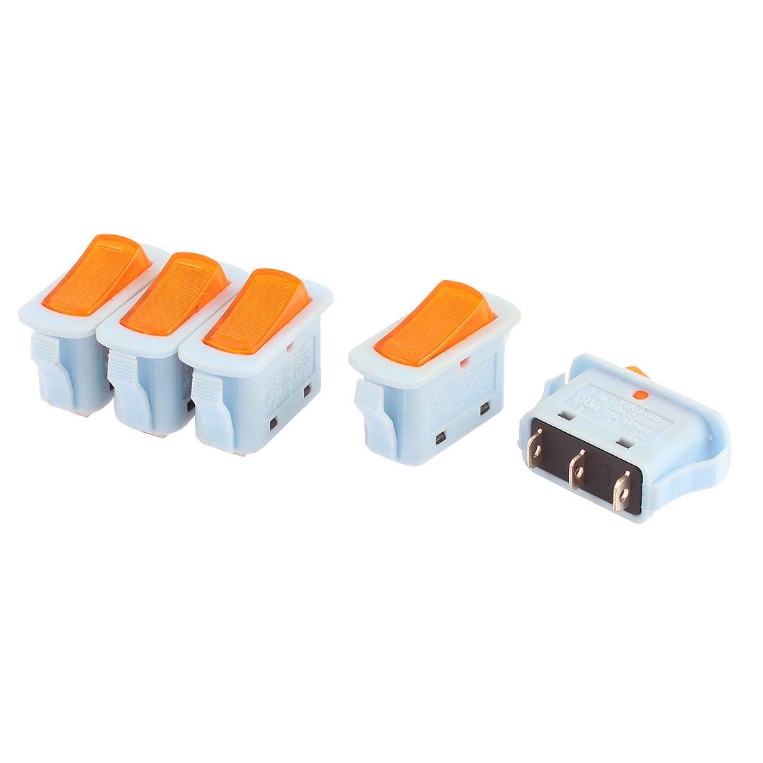 5Pcs AC 110V-220V Orange Light ON/OFF 2 Position Snap In SPST Boat Rocker Switch Blue