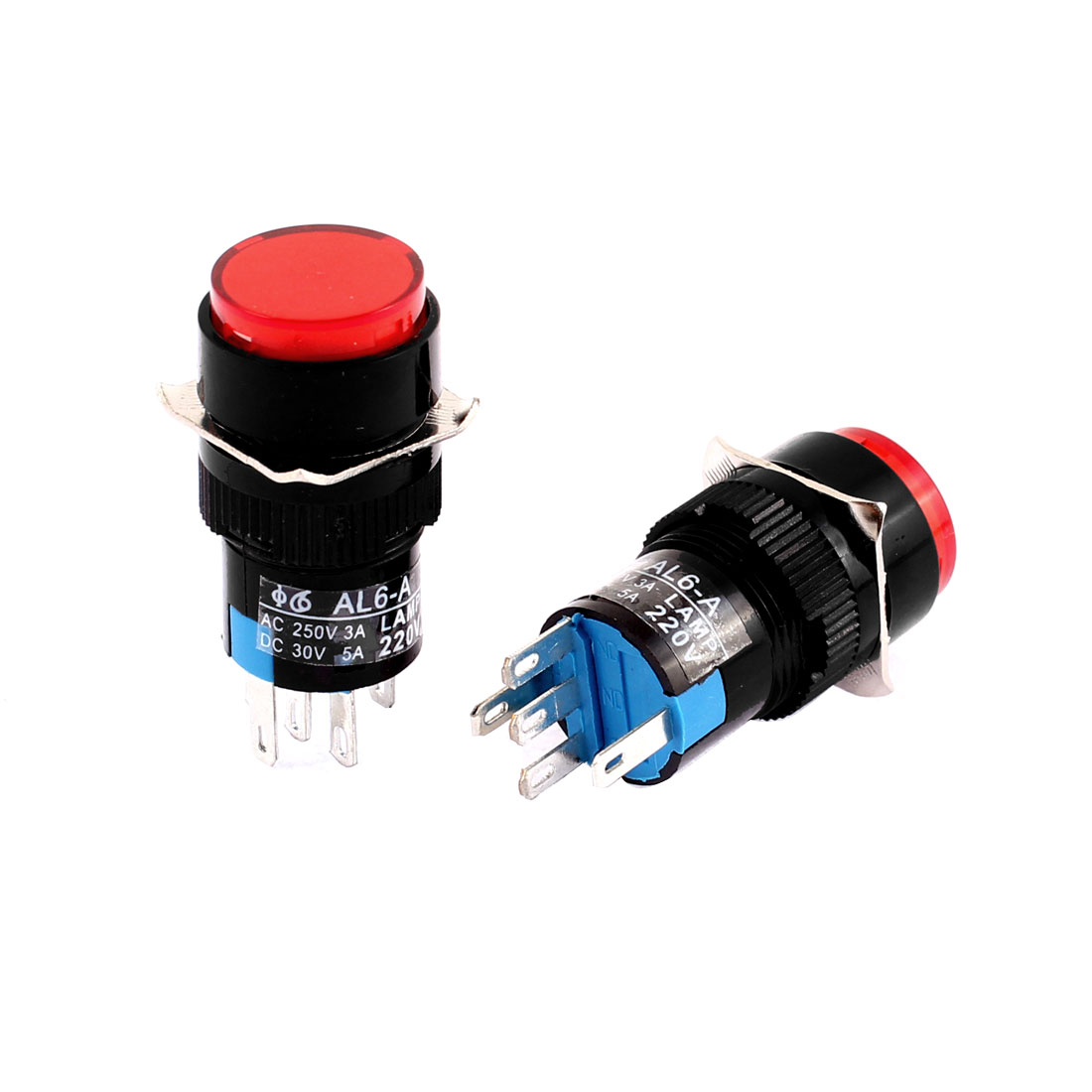 2pcs AC 220V Red LED Light 16mm Thread Panel Mounted SPDT 1NO 1NC Self Locking Push Button Switch