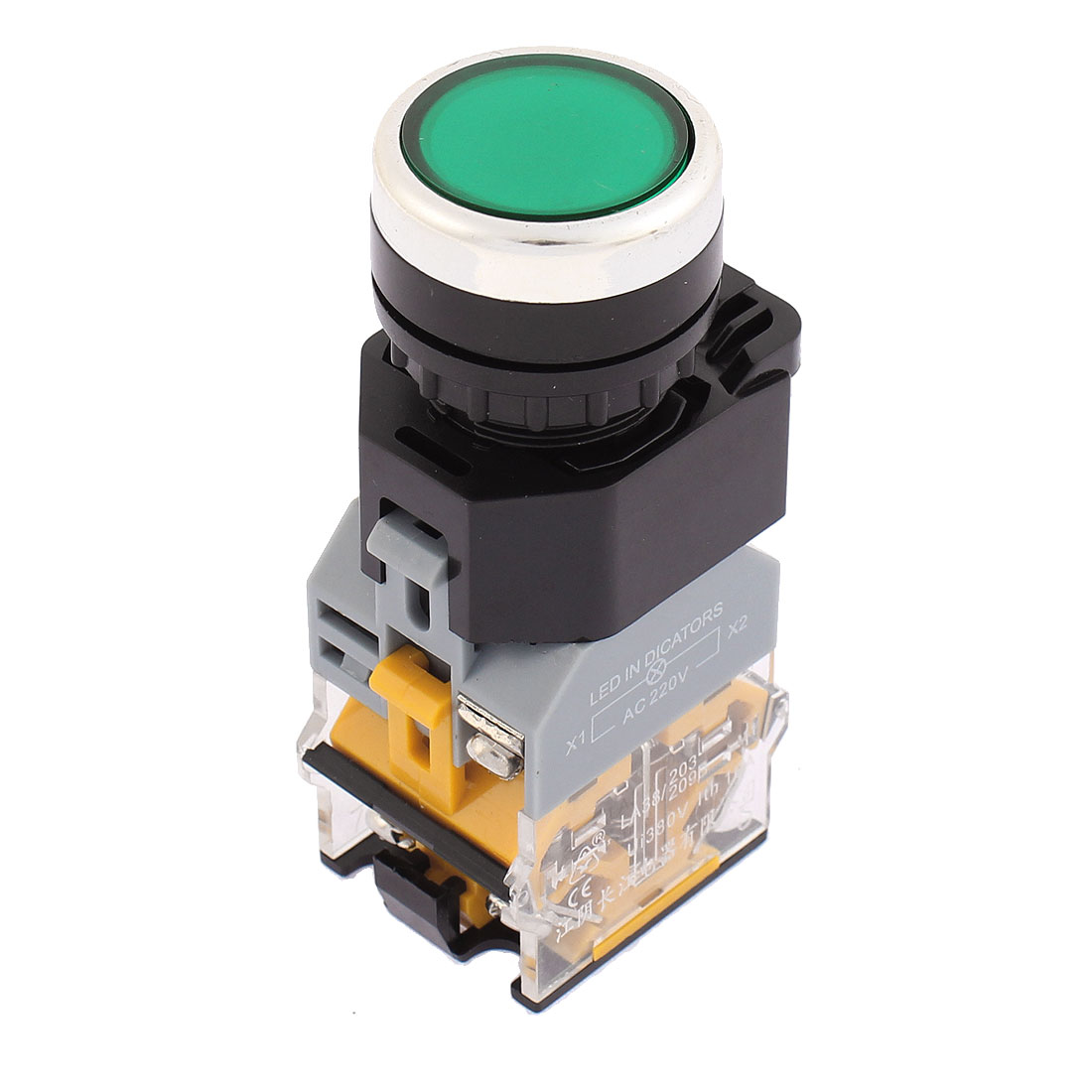 AC 220V Green LED Indicator 22mm Thread Panel Mounted 1NO 1NC DPST Latching Push Button Switch
