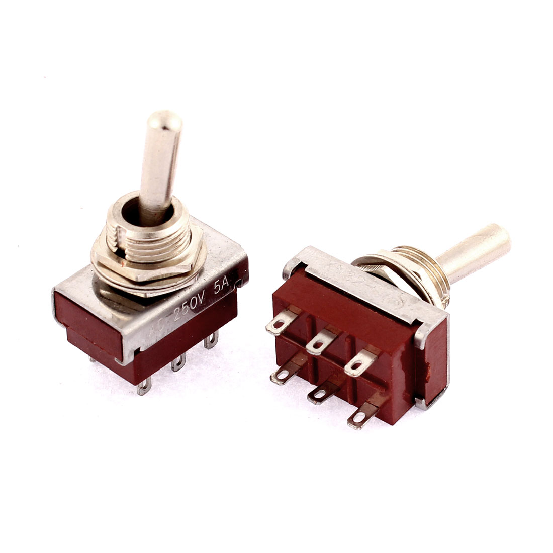 2Pcs AC 250V 5A 6 Terminals 2 Position 12mm Thread Panel Mounted DPDT Rocker Toggle Switch