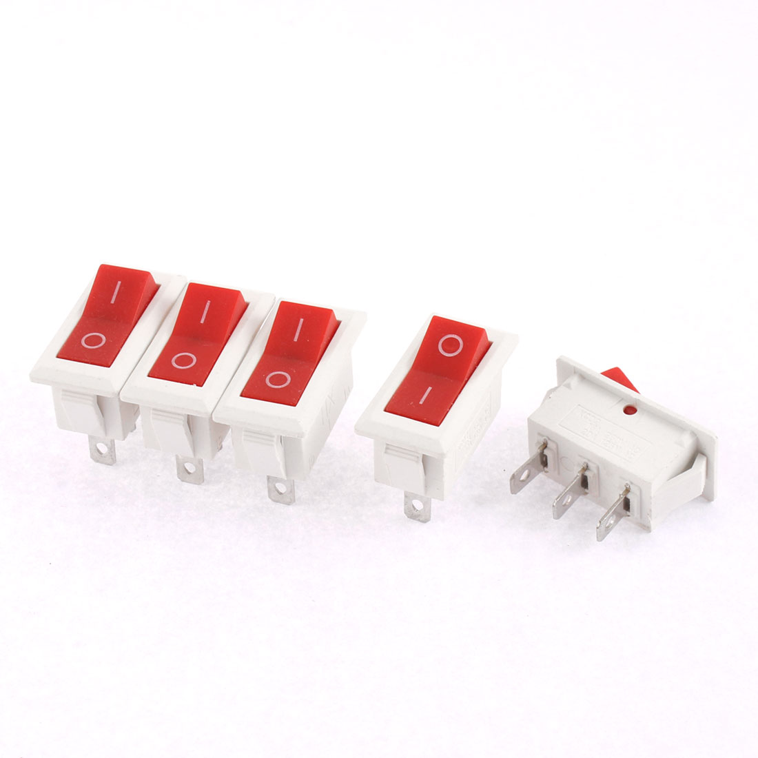 5Pcs 2 Position Snap in White Plastic SPDT Boat Rocker Switch AC 250V 16A 125V 20A