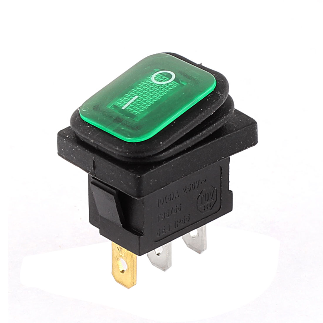 Green Pilot Light AC 250V 10A I/O 2 Position Snap In SPST Latching Waterproof Car Boat Rocker Switch