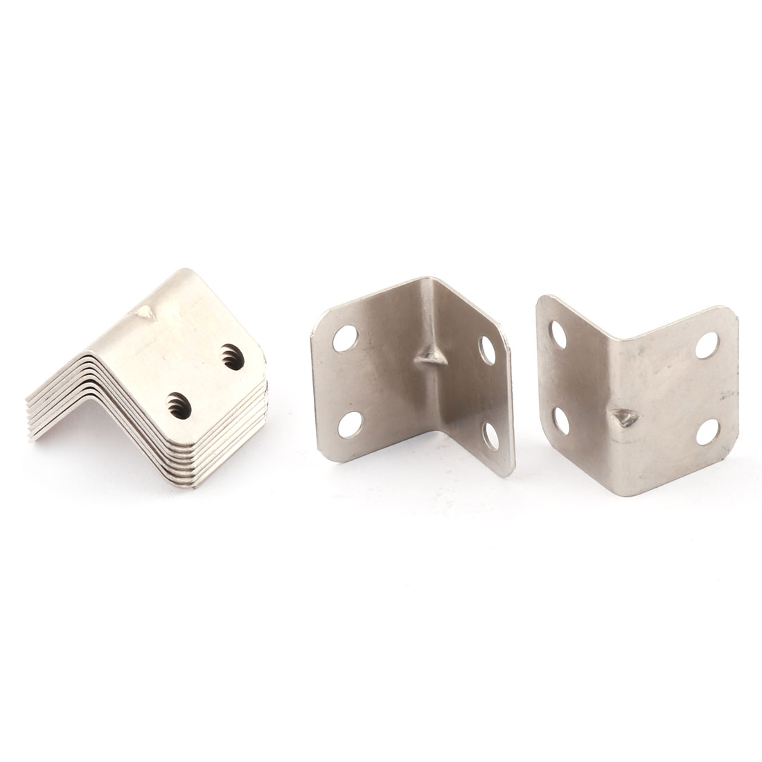 10 Pcs 25mmx25mmx32mm L Shaped White Metal Corner Brace Angle Bracket Support Holder Fasteners
