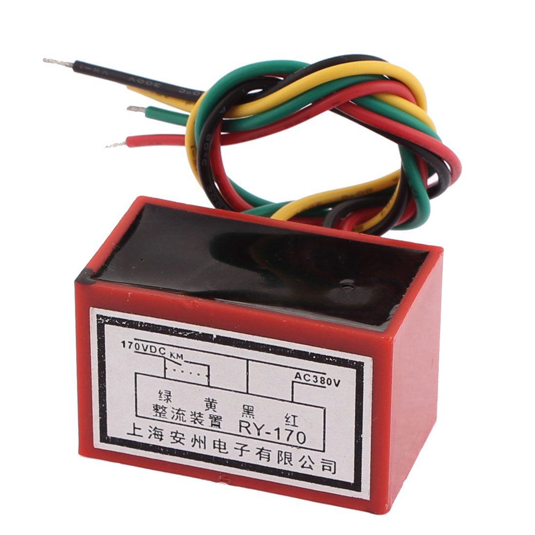 RY-170 AC 380V Input to DC 170V Output Red Black Plastic Brake Motor Rectifier