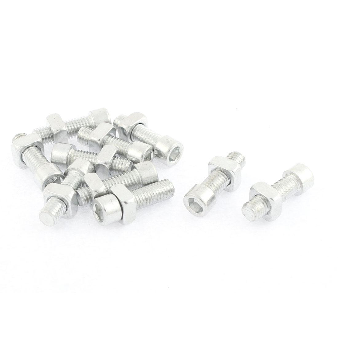 10Pcs M8 x 25mm Thread 32mm Long Metal Square Nut Hex Socket Cap Screws Bolts Set