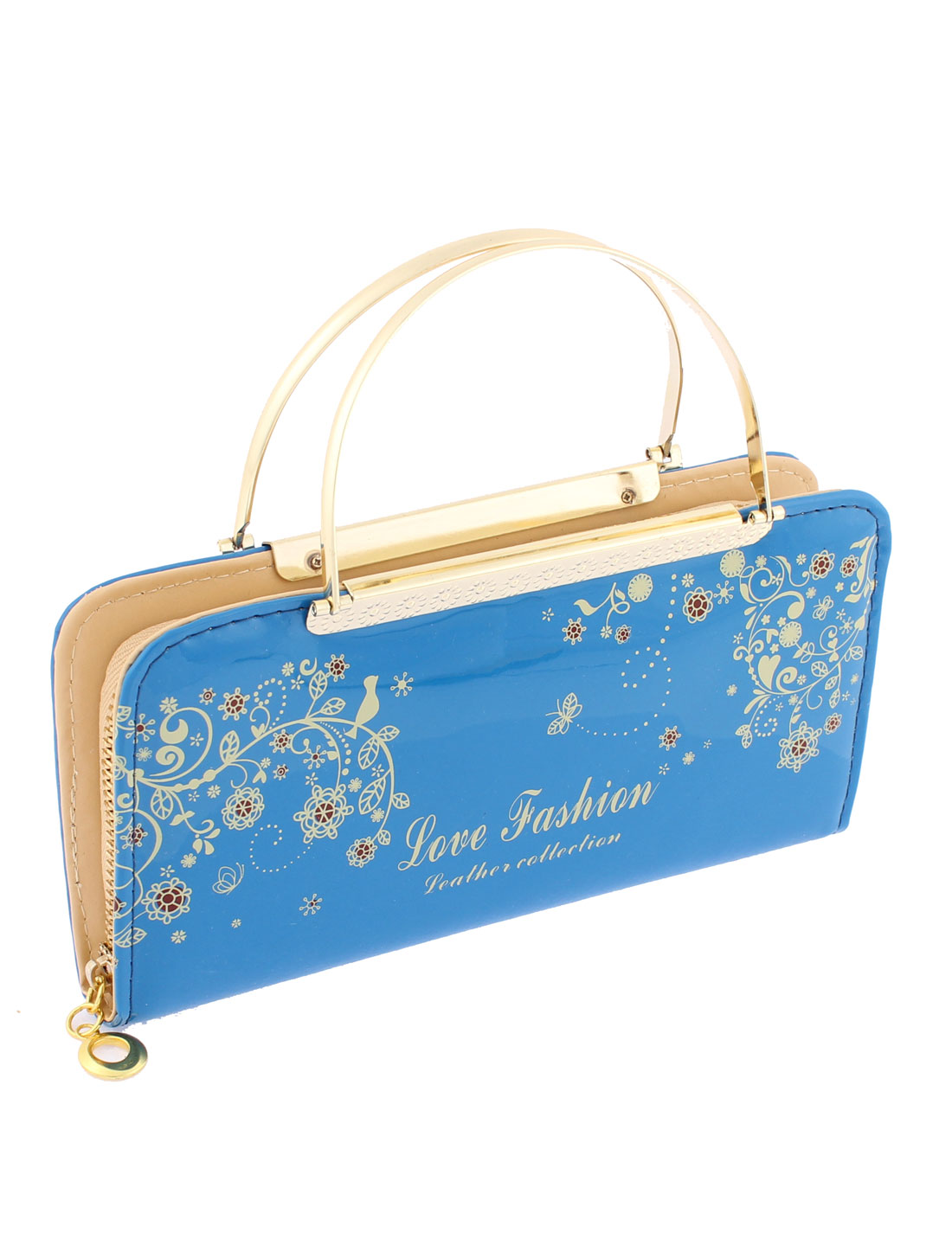 Faux Leather Zip Up Floral Letters Print Handbag Purse Evening Clutch Bag Blue