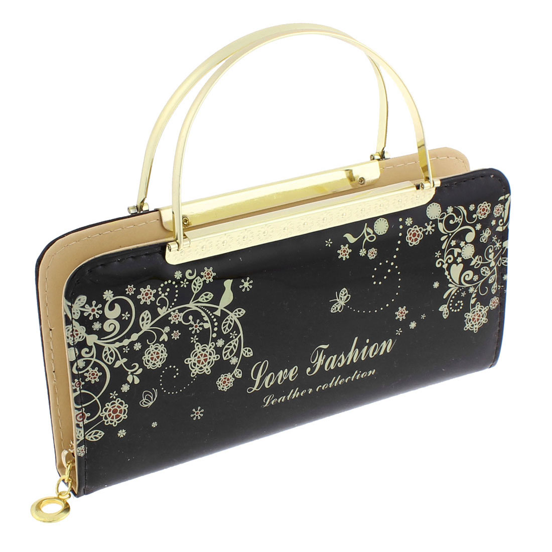 Faux Leather Zip Up Floral Letters Print Handbag Purse Evening Clutch Bag Black