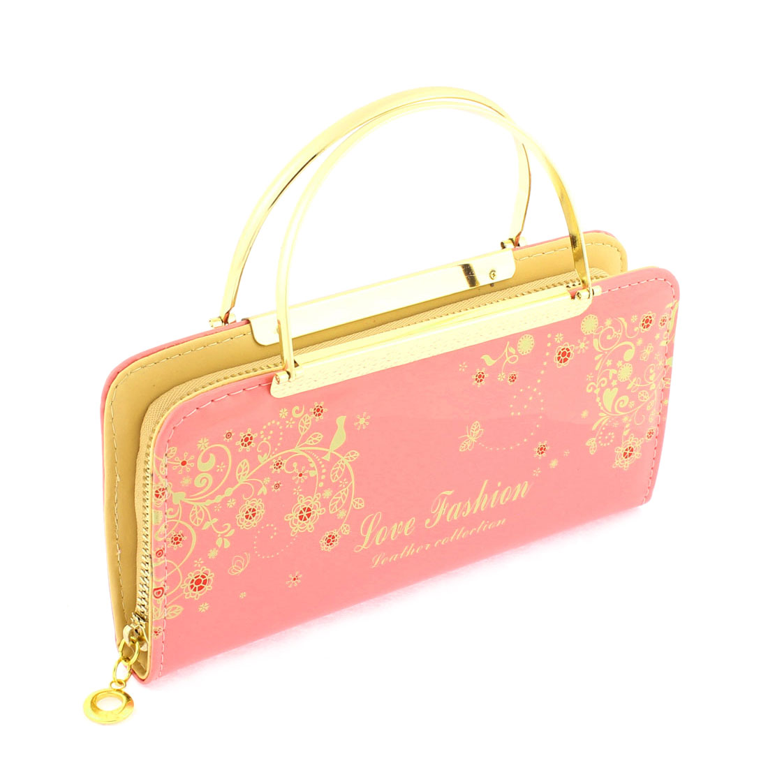 Faux Leather Zip Up Floral Letters Print Handbag Purse Evening Clutch Bag Pink
