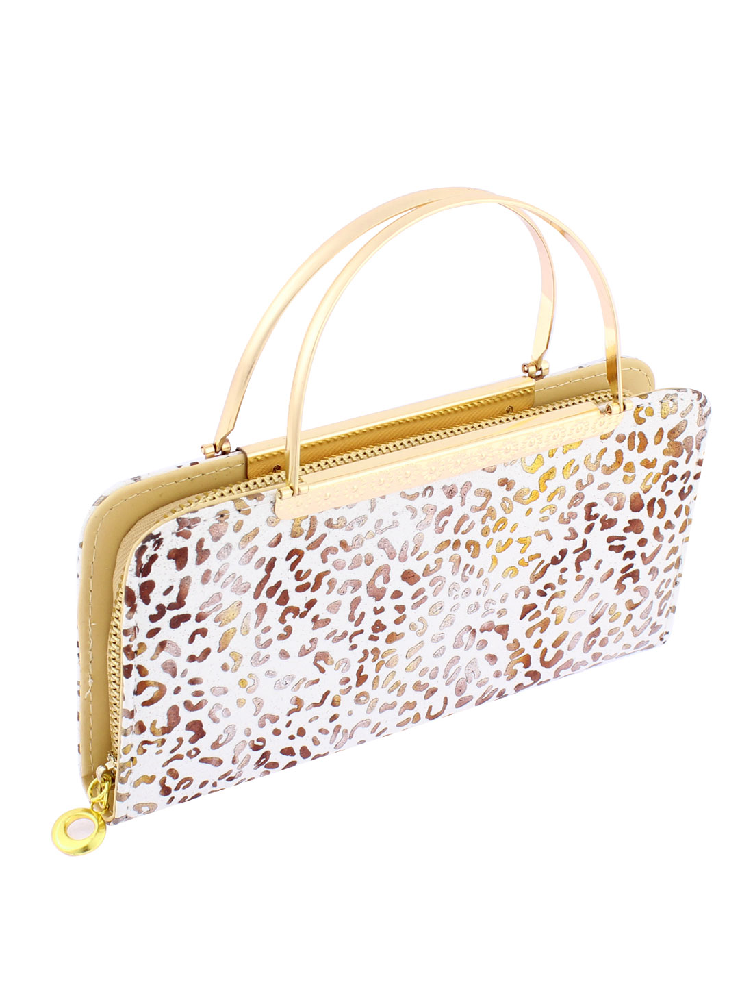 Lady Faux Leather Zip Up Leopard Prints Handbag Purse Evening Clutch Bag White