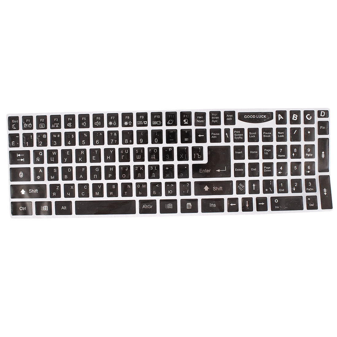 Computer Notebook PC Plastic Russian Keyboard Sticker Decal Black Silver Tone