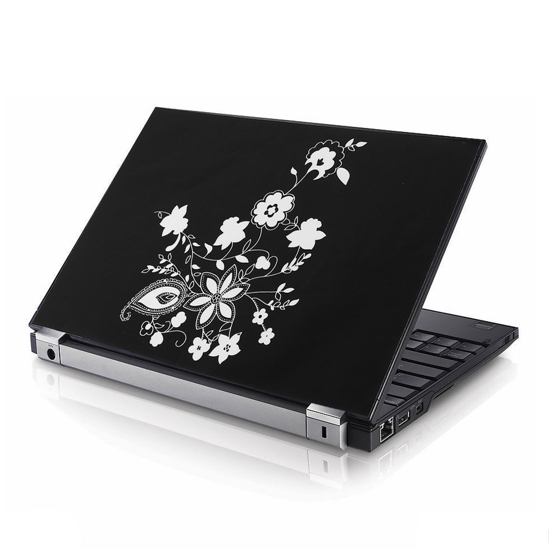 "15.6"" 15"" Floral Laptop Notebook Decal Sticker Cover Protector Skin Black White"