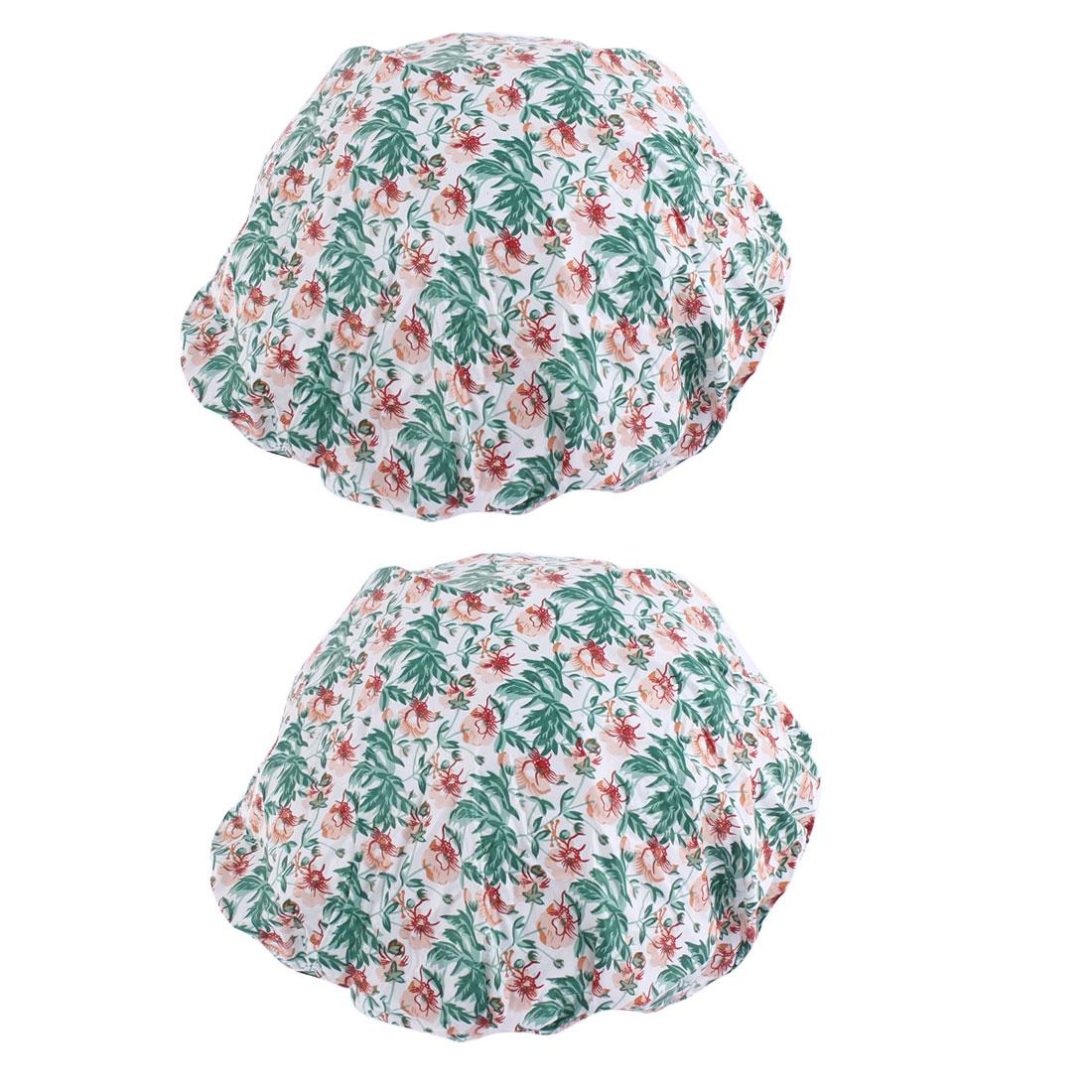 Woman Flower Leaf Print Elastic Band Water Resistant Shower Cap Bath Hat 2pcs