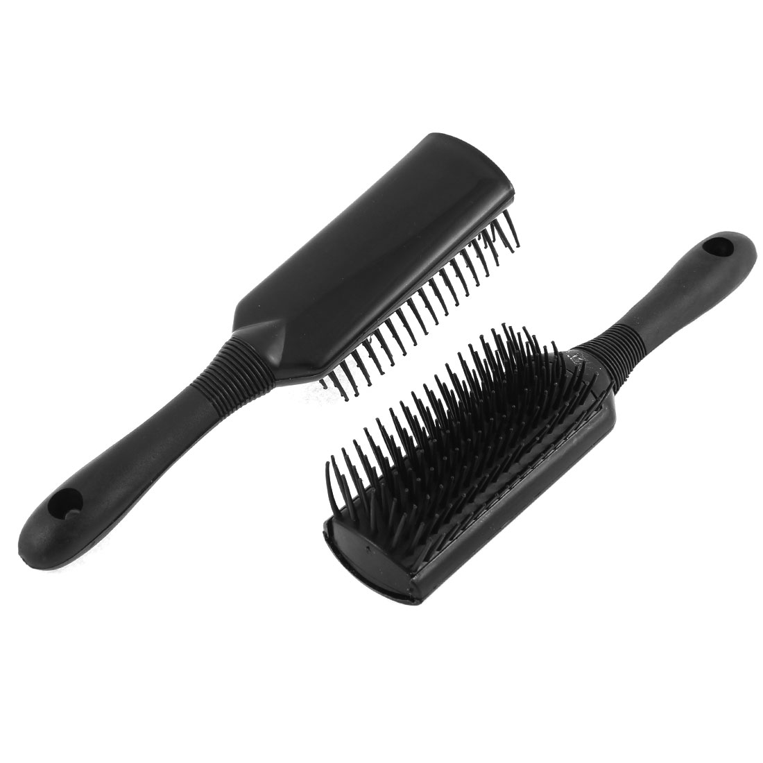 Hairdresser Plastic Handle Anti-static Head Massage Hair Brush Comb Black 2pcs