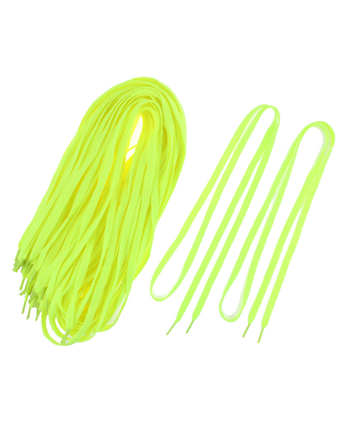 Casual Sport Shoes Sneaker Flat Bootlaces Shoelaces Strings Fluorescent Yellow 20 Pairs