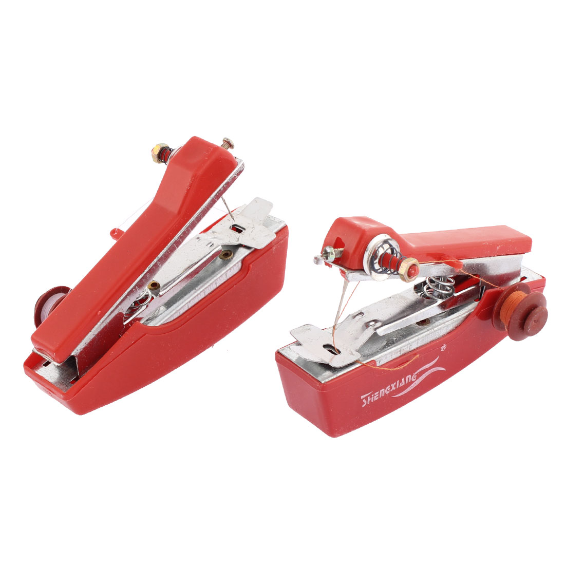 Home Clothes Fabric Craft Handheld Mini Sewing Machine Stitch Tool Red 2pcs