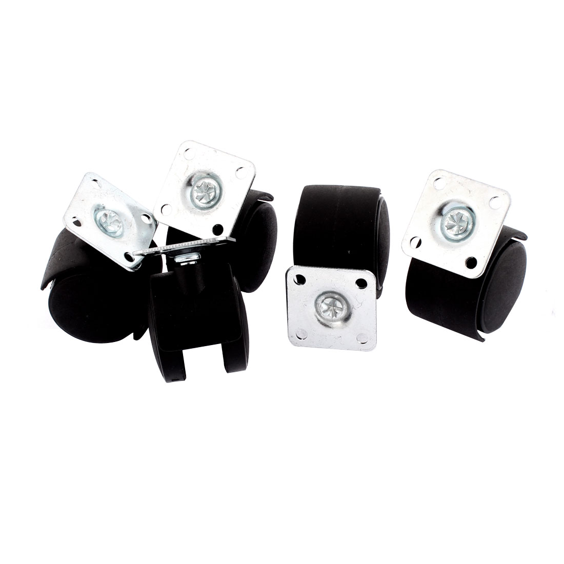 Office Chair 40mm Dia Wheel Square Top Plate Mounted Swivel Caster 5 Pcs