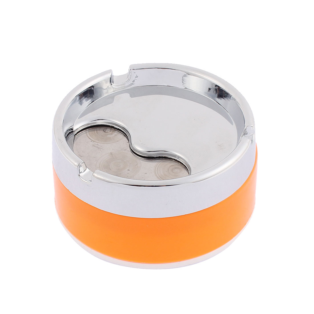 Home Office Metal Rotary Lid Cigarette Ashtray Ash Holder Container Orange