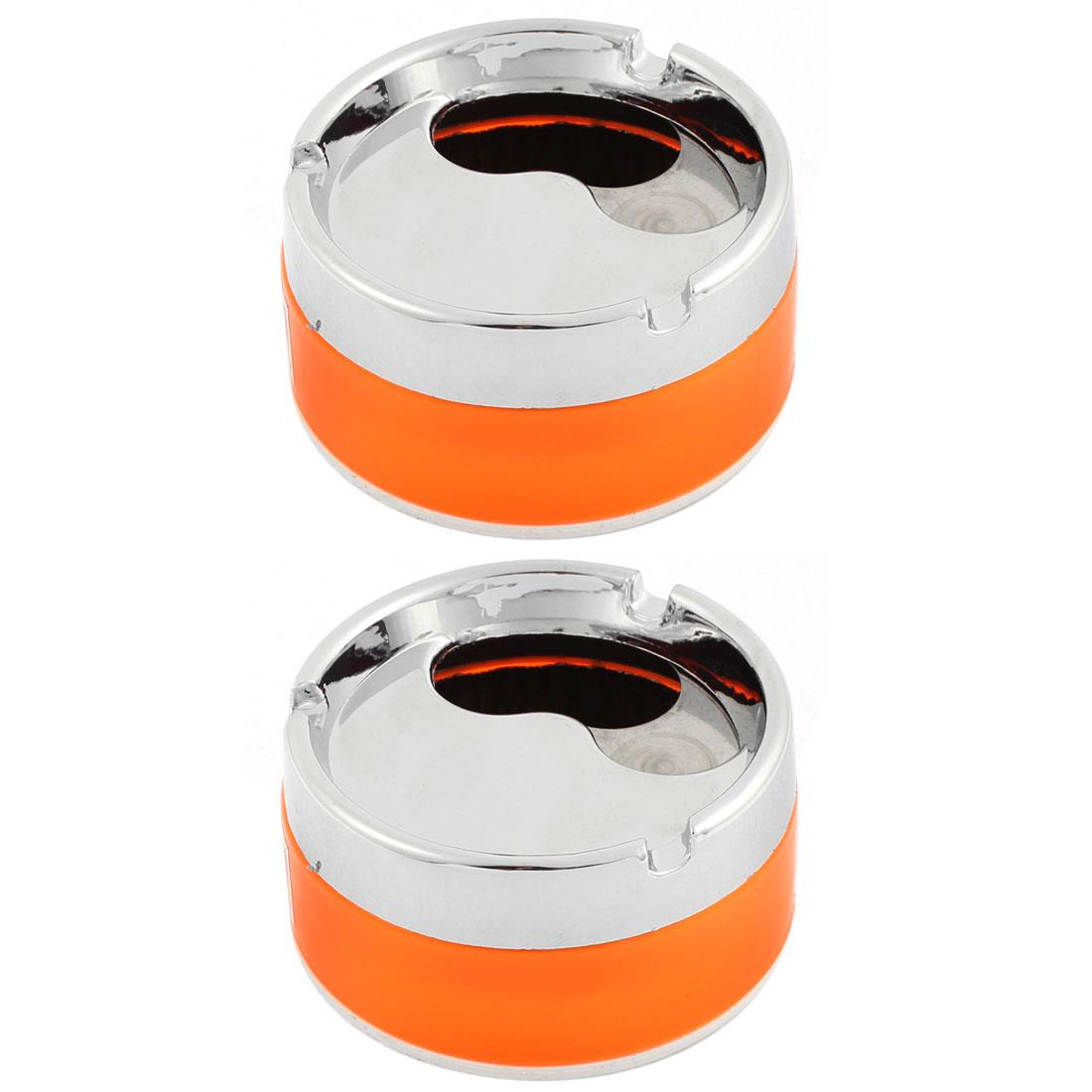 Home Car Cylinder Shaped Rotatable Lid Cigarette Holder Ashtray Orange 85mm Dia 2pcs