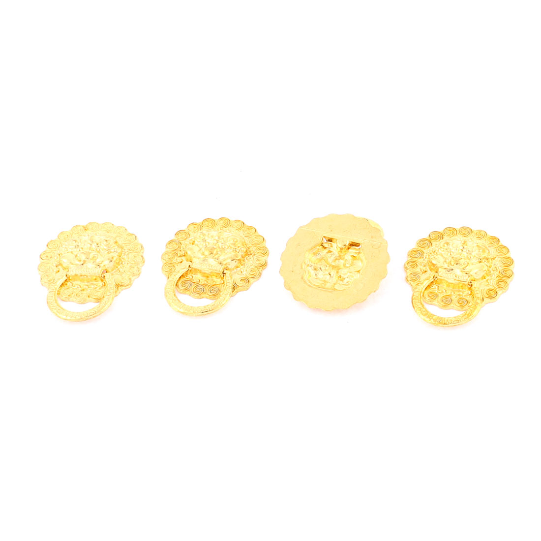 Home Jewelry Box Cabinet Door Round Shaped Pull Handle Ring Gold Tone 4pcs