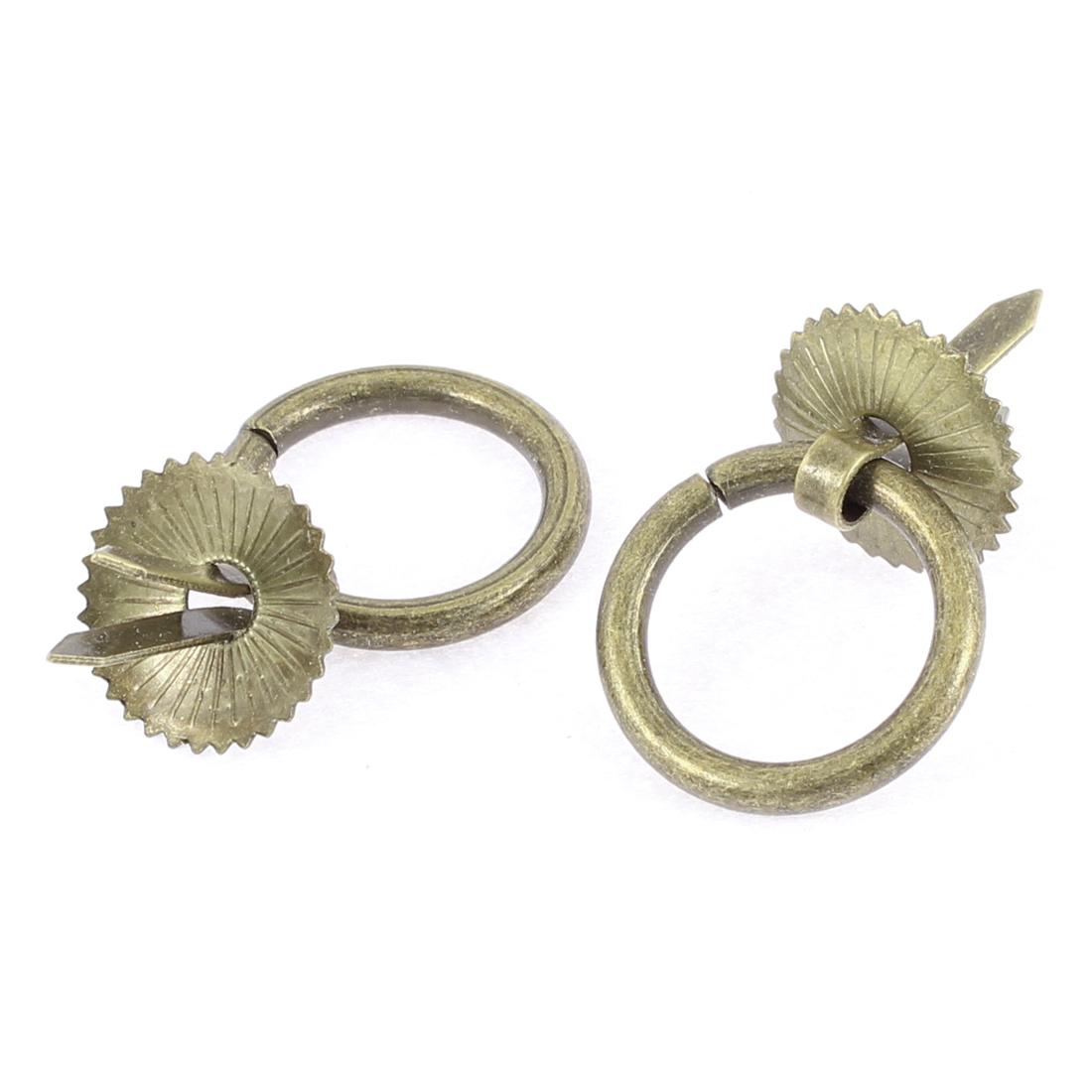 Drawer Closet Door Dresser Round Shaped Pull Handle Ring Bronze Tone 2 PCS