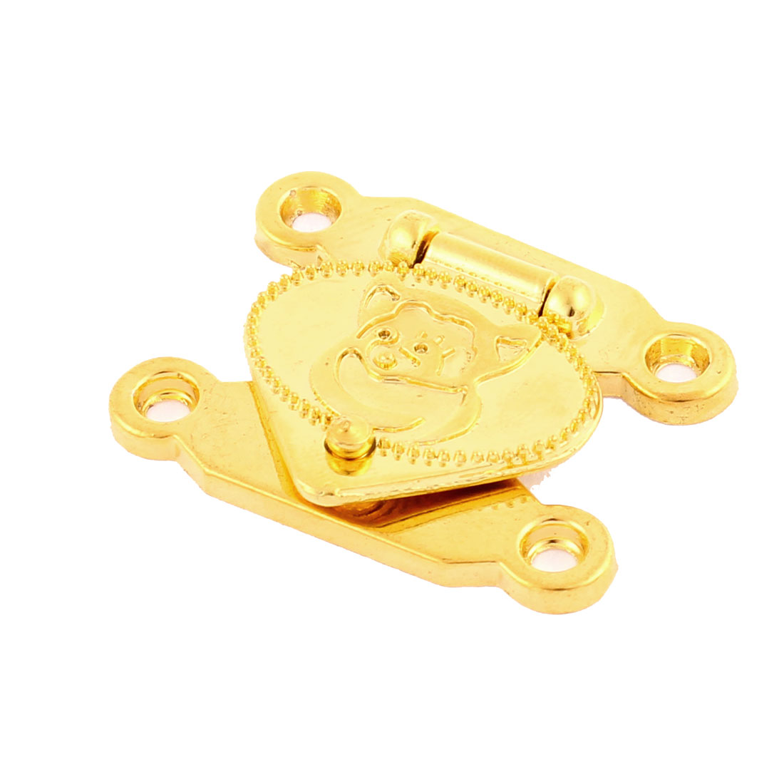 Wooden Case Jewellery Box Snap Closure Clasp Hasp Latch Set Gold Tone