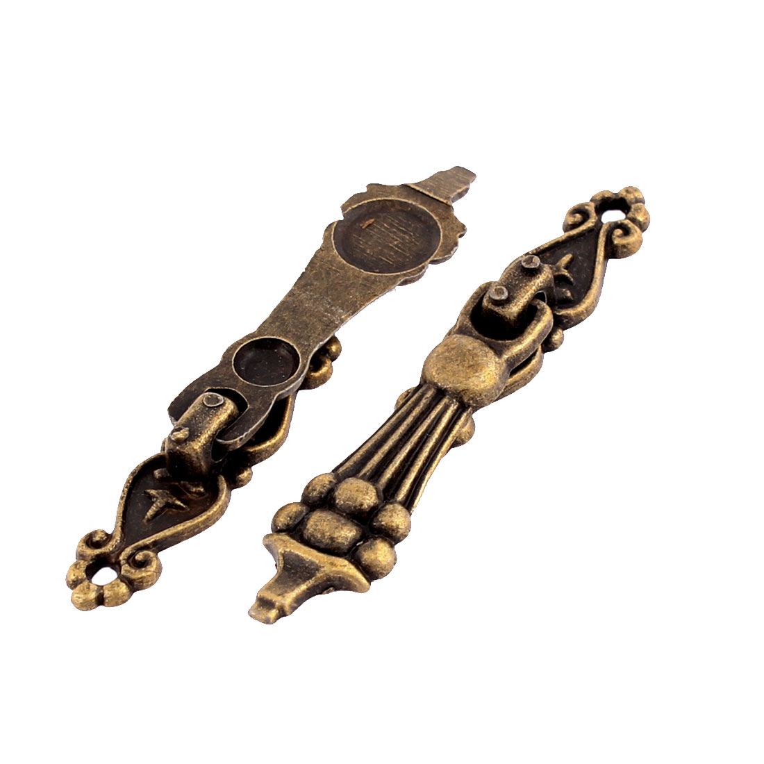 Cupboard Drawer Door Showcase European Style Pull Handle Bronze Tone 2 Pcs