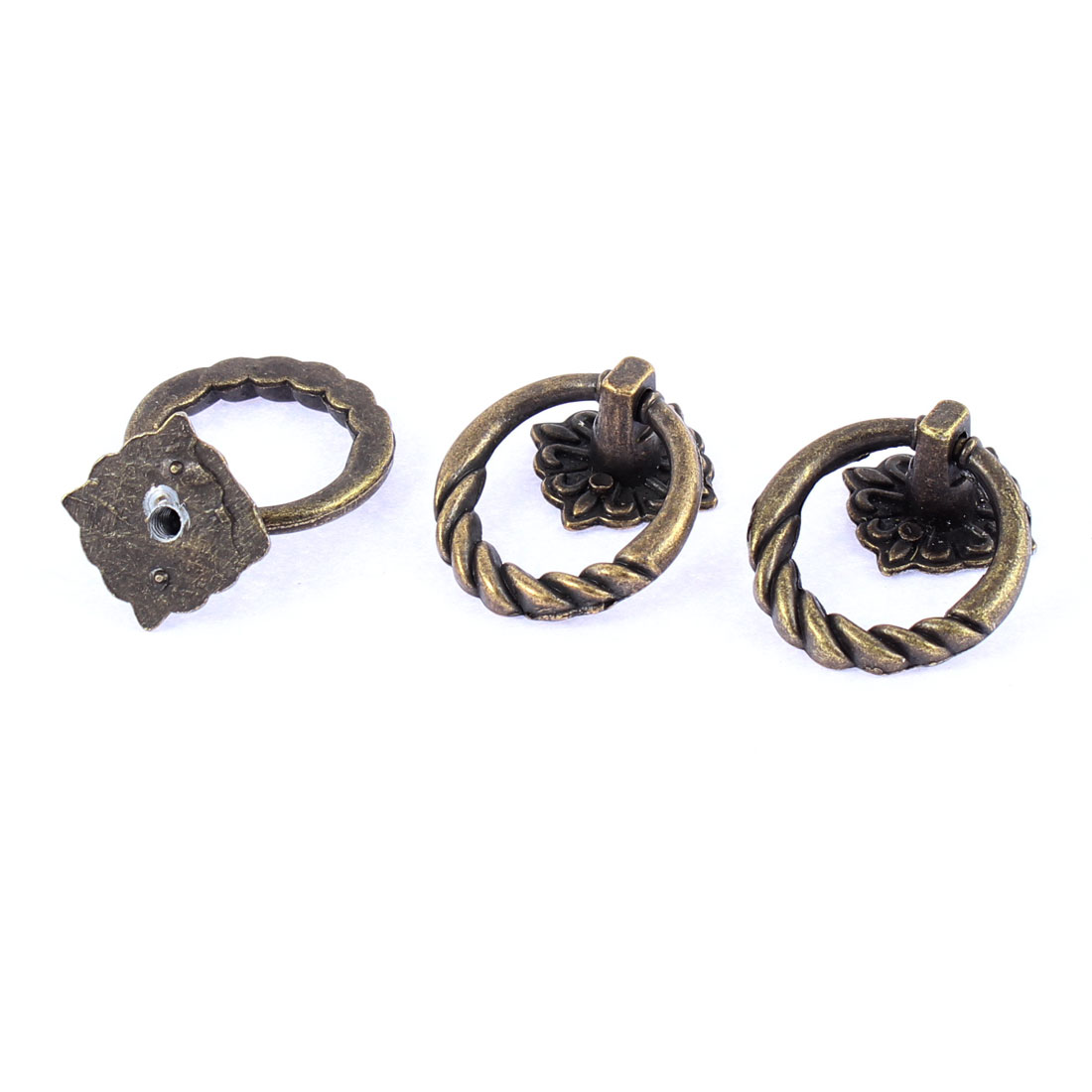 Furniture Drawer Door Vintage Style Zinc Alloy Pull Handles Rings 3mm Thread Dia 3pcs