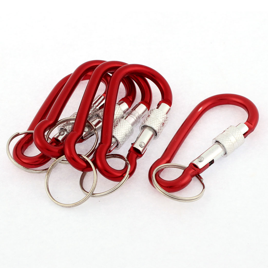 Outdoor Fishing Metal Screw Locked Carabiner Hook Key Holder Keyring Burgundy 5pcs