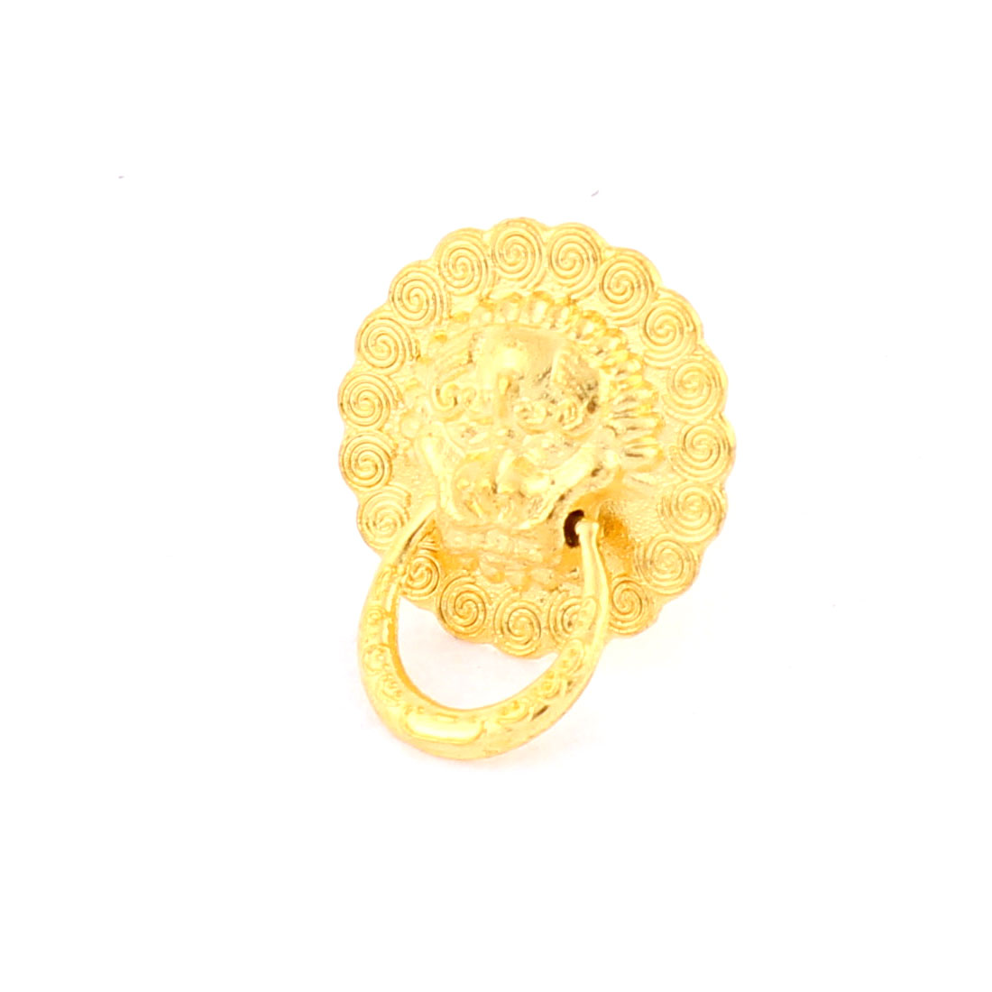 Dresser Cupboard Door Lion Head Shaped Pull Handle Ring Gold Tone 8mm Hole Dia