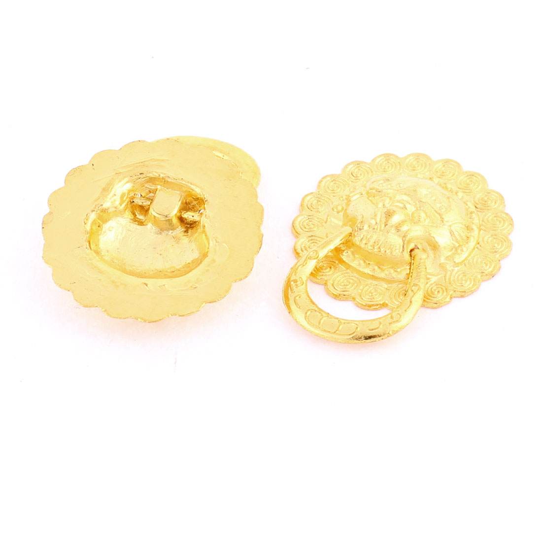 Cabinet Door Drawer Lion Face Carved Pull Handle Ring Gold Tone 30mm Dia 2pcs