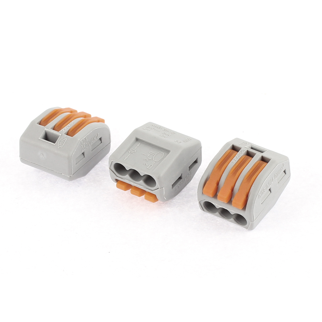 AC 250V 32A Lever Lock 3 Pole Push Cable Wire Connector Terminal Block 3 Pcs