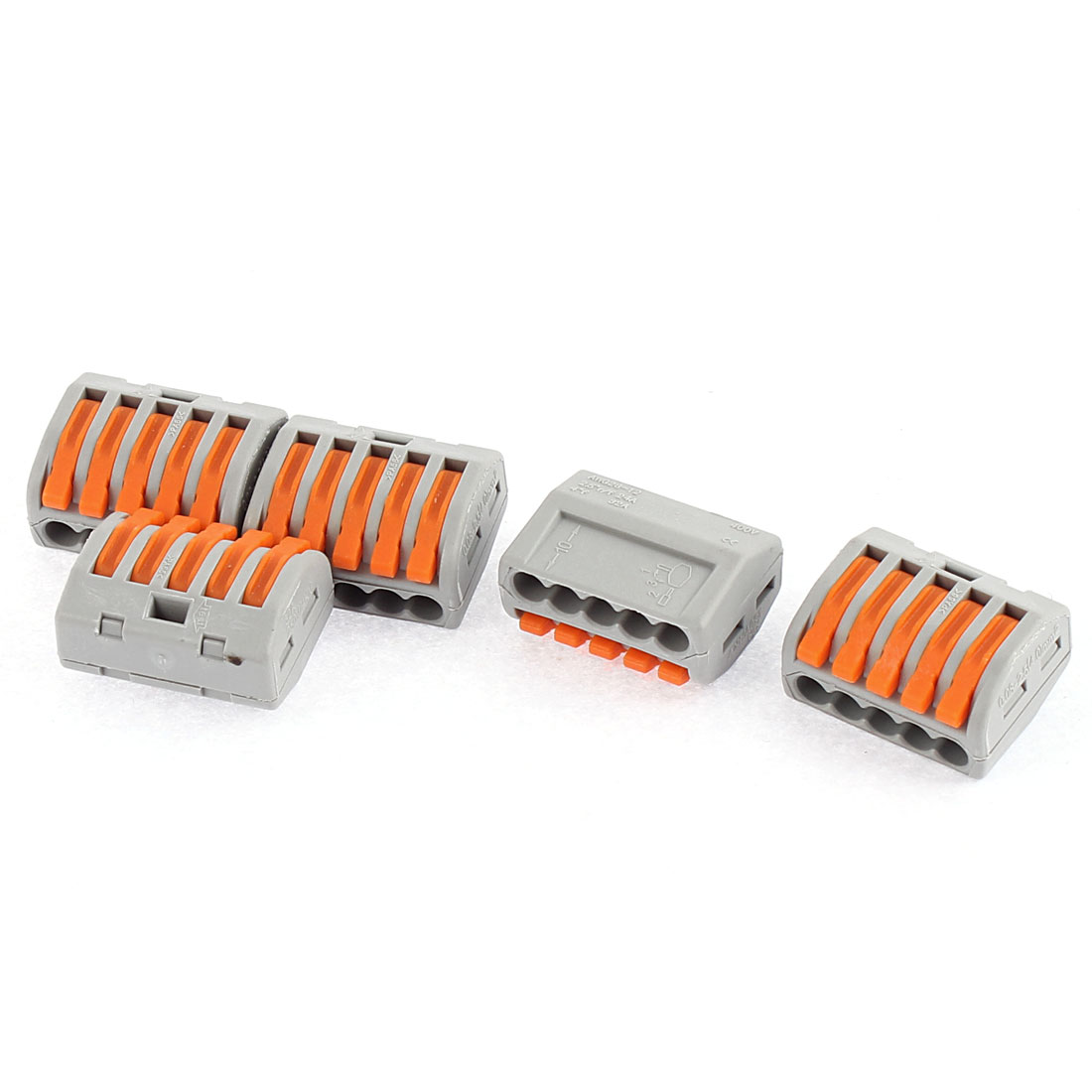 AC 250V 32A Lever Lock 5 Poles Push Cable Wire Connector Terminal Block 5 Pcs