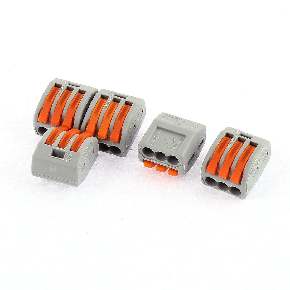 AC 250V 32A Lever Lock 3 Pole Push Cable Wire Connector Terminal Block 5 Pcs