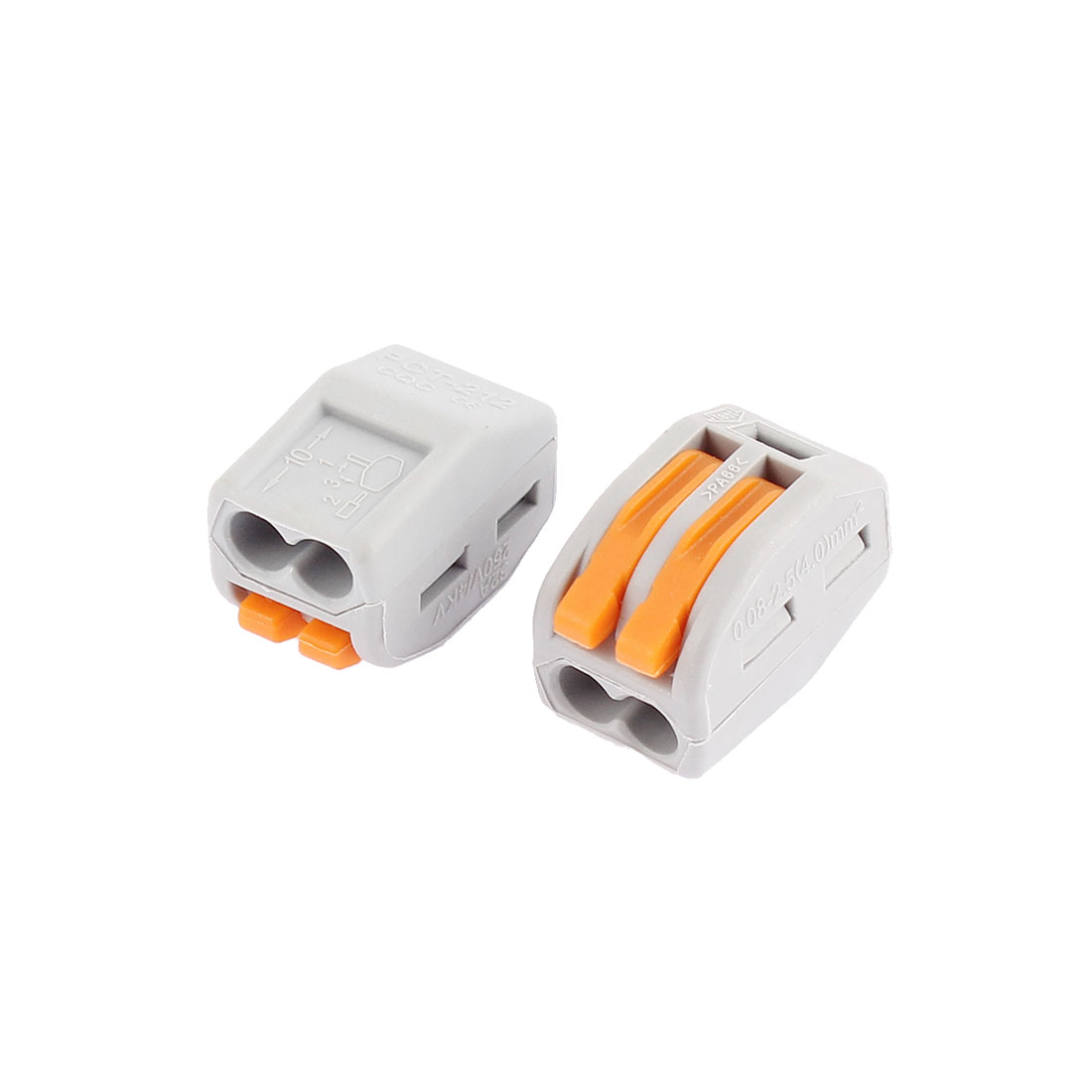 AC 250V 32A Lever Lock 2 Pole Cable Wire Connector Terminal Block 2 Pcs