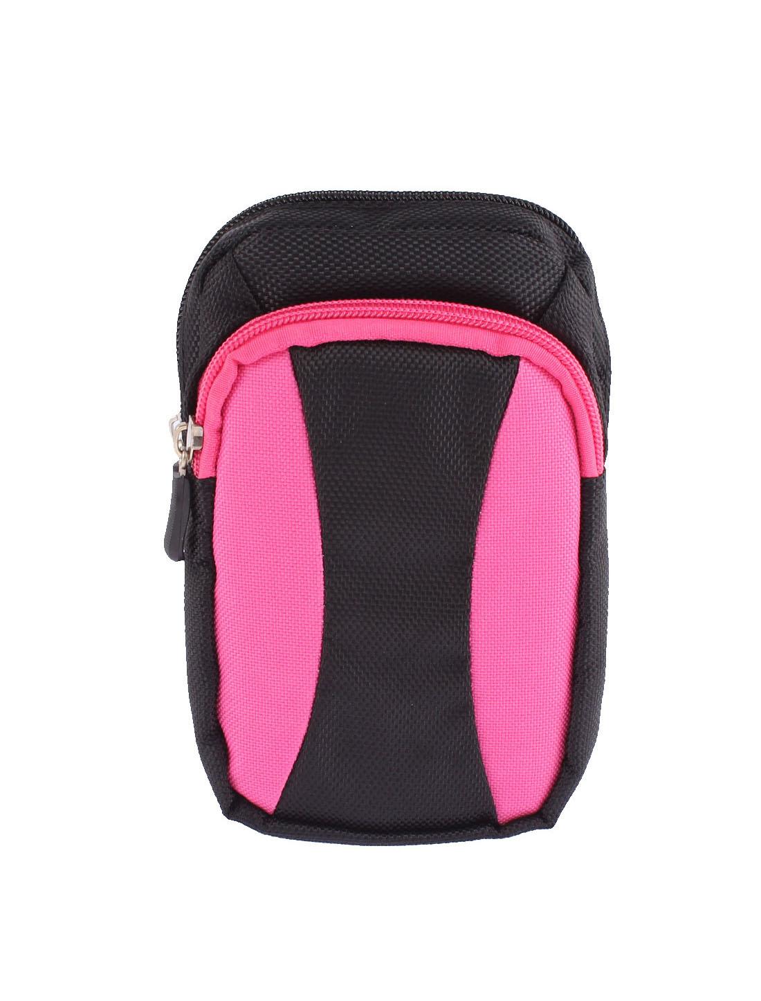 Causal Zip Up Money Phone MP3 Holder Waist Belt Pack Bag Wallet Purse Pink