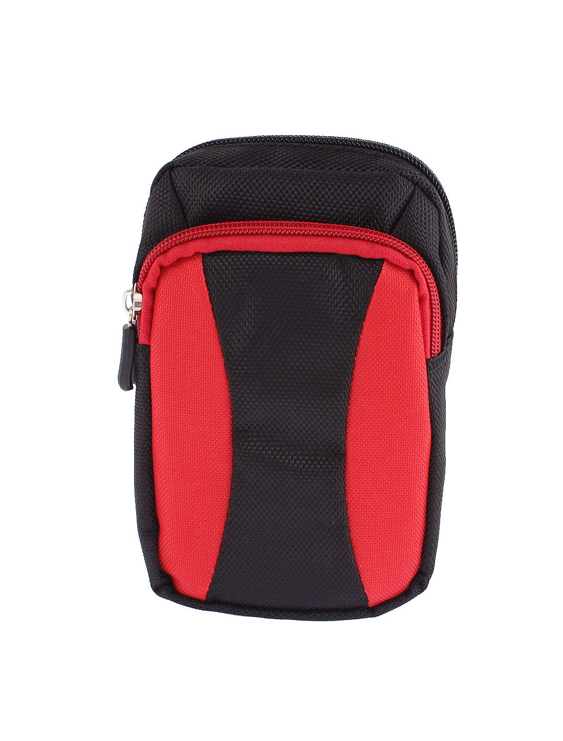 Travel Running Polyester Zippered Waist Bag Pocket Wallet Red 16cm Length
