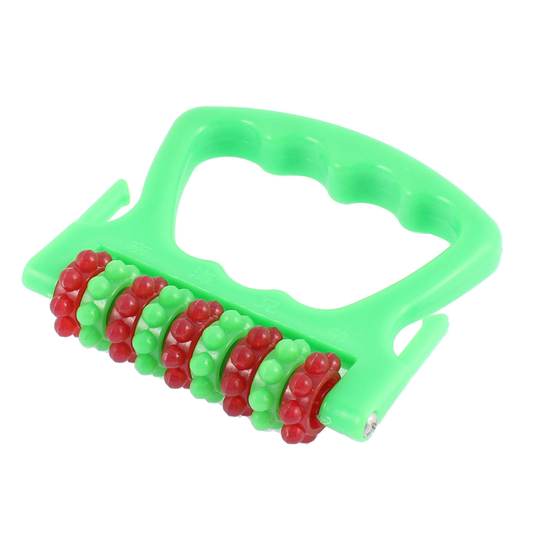 Plastic Handheld Back Pain Stress Release Massage Roller Tool Green
