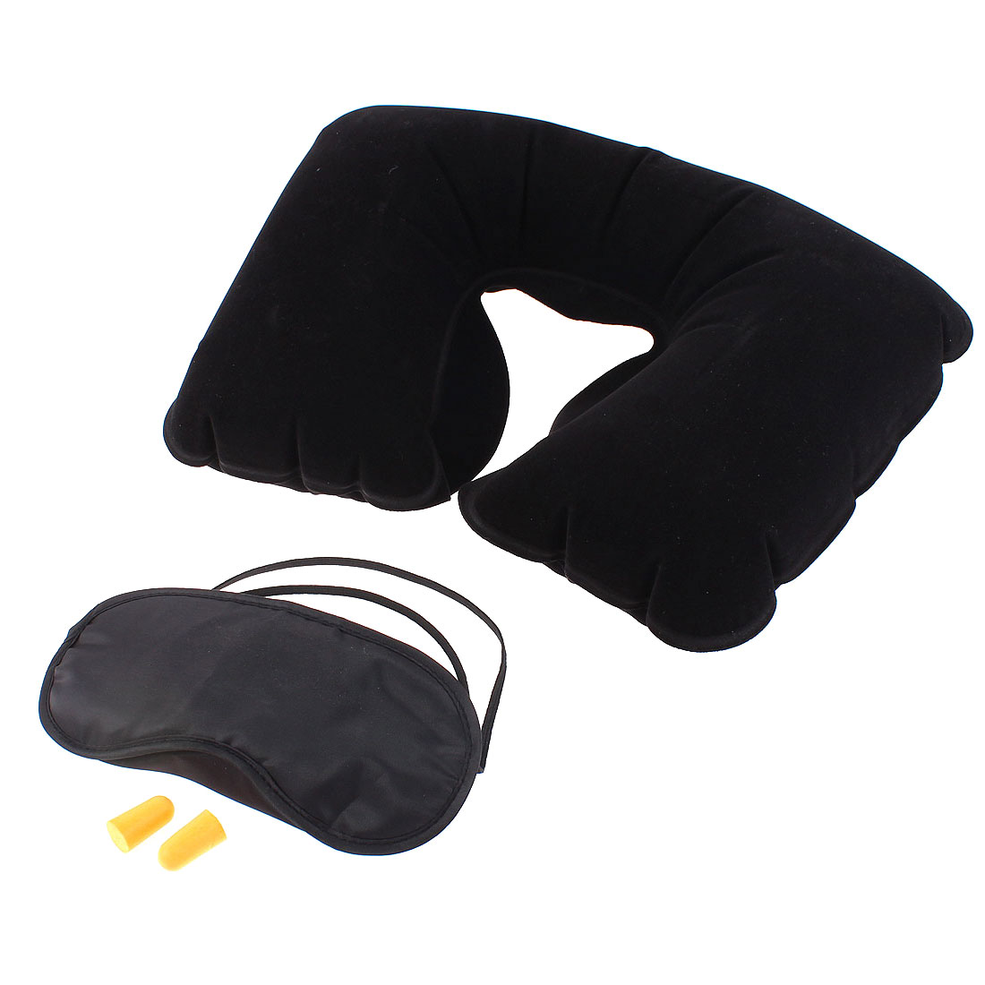 Travel Sleeping Inflatable Neck Rest Fleece Pillow Eye Mask Earplug Black 3 in 1