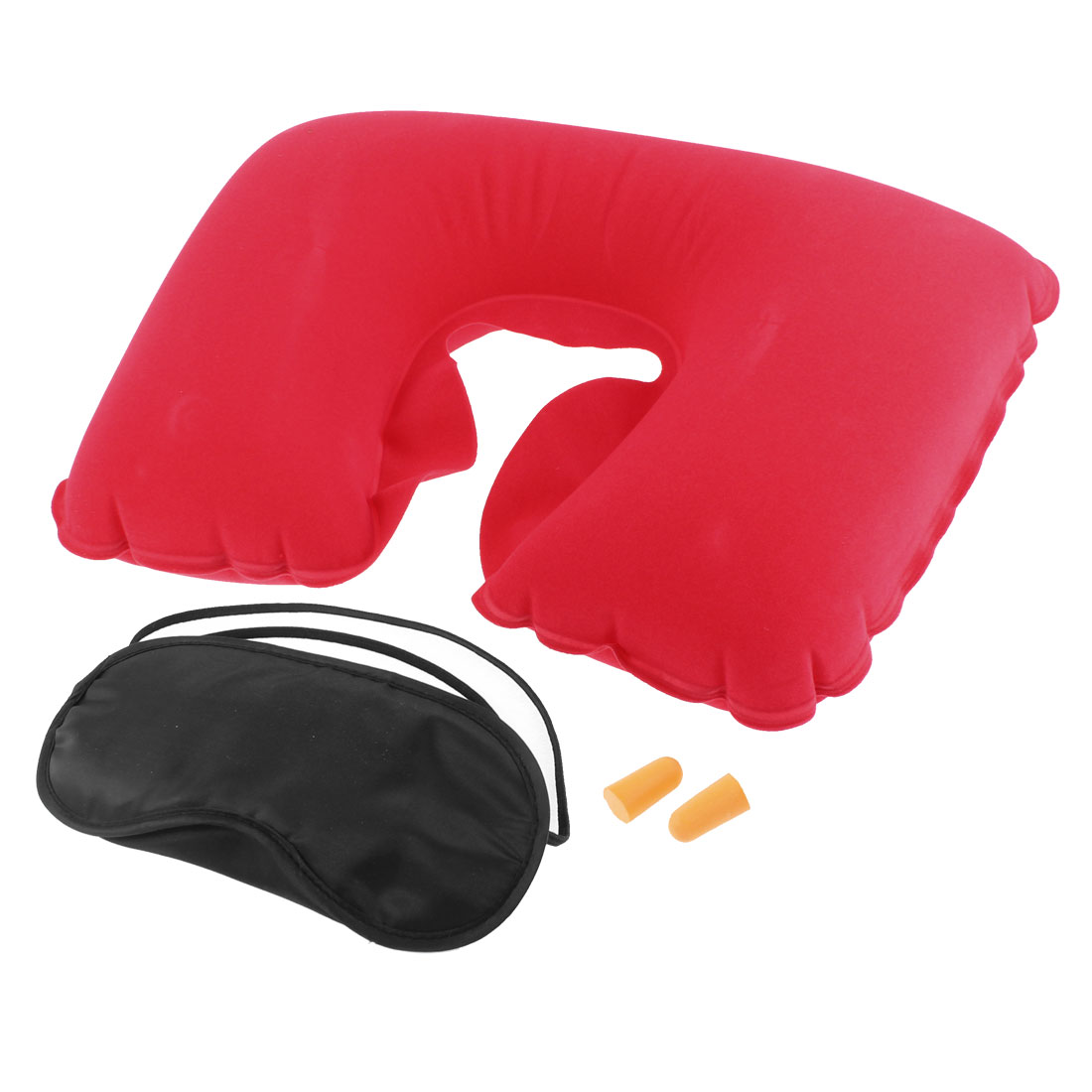 Travel Sleeping Inflatable U Shaped Neck Pillow Eye Mask Earplug Red 3 in 1