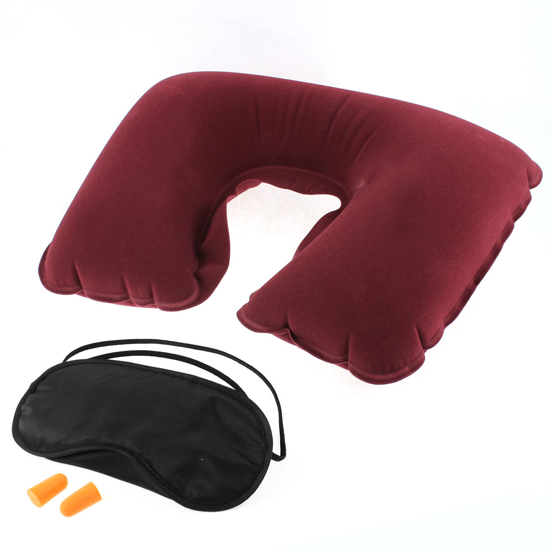 Travel Sleeping Relaxing Head Neck Cushion Pillow Eye Mask Earphone 3 in 1
